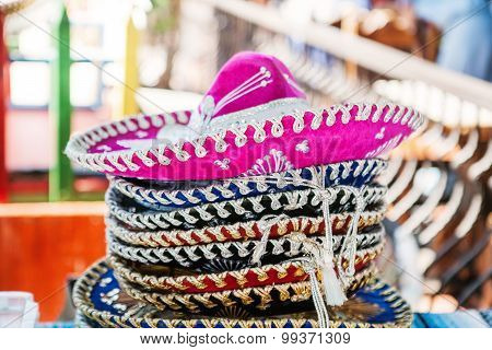 Stack of sombreros at a market in Mexico