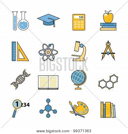 Set of education and learning line icons. Flat style design. School and college items, educational e