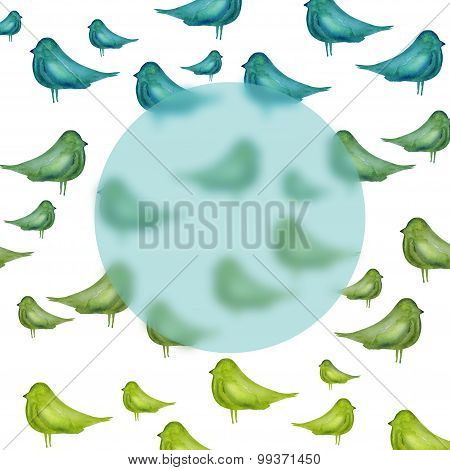 pattern with watercolor silhouette of birds