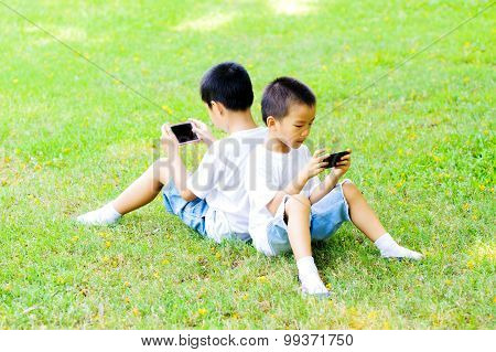 Two Boy Play Smartphone