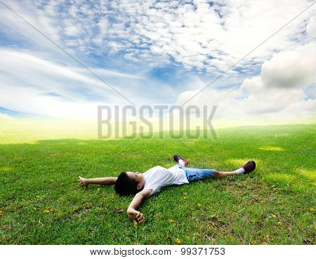 Boy Lay On The Grass Feel Relax
