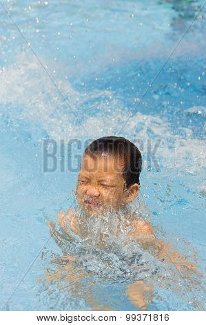 Boy Play In The Pool