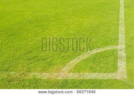 Corner On Green Lawn Of Soccer Field