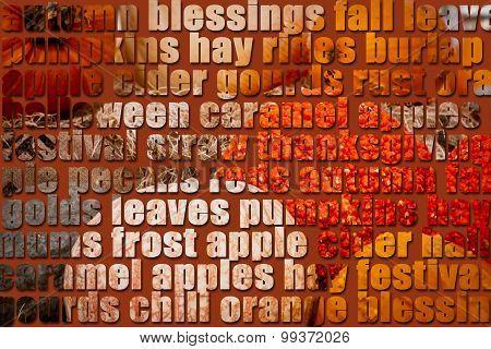Pumpkins Showing Through Autumn Text