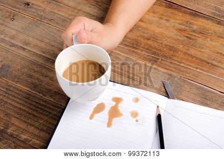 Coffee In Cup Drop On The White Page