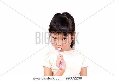 Little Asian Girl Brush Teeth