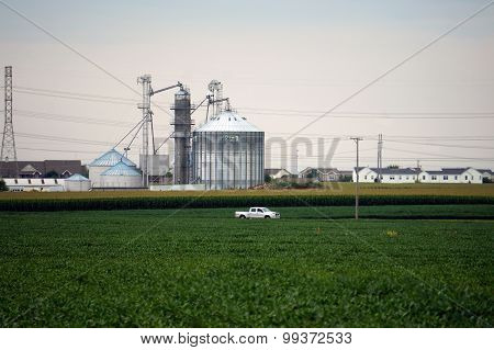 Grain Elevators Near a Suburban Development