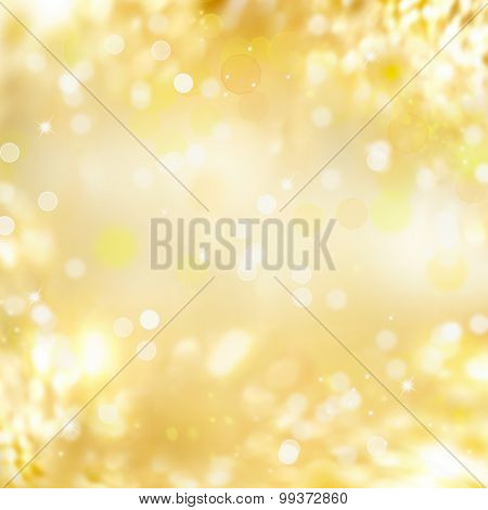 Gold background. Abstract holiday glowing golden background. Christmas Holiday glowing Abstract Glitter Defocused Background With Blinking Stars. Blurred Bokeh