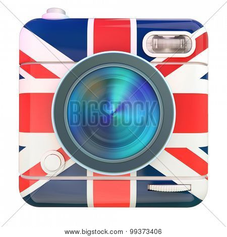 3D rendering of a photo camera icon with a UK flag pattern
