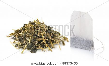 Teabag And Dry Tea Isolated On White Background