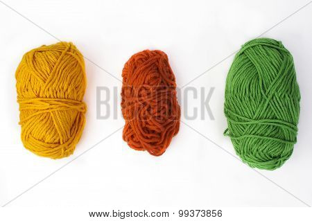 Colored Yarn Centered on White Backdrop