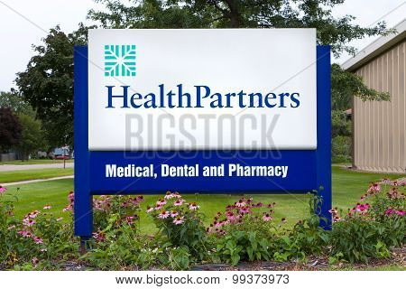 Healthpartners Clinic Sign And Logo. Headquarters Building