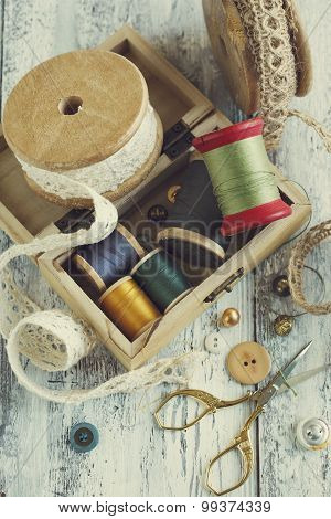 Tools For Needlework, Thread For Sewing, Scissors, Buttons And Vintage Laces.