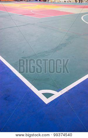 Futsal Court Indoor Sport Stadium With Mark, White Line In The Stadium.