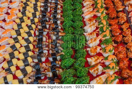 Sushi Many In The Market.