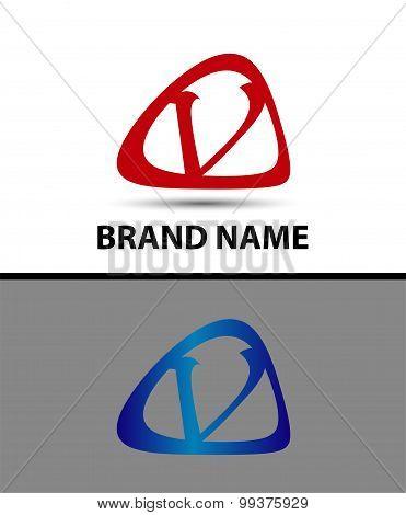 Symbol of letter V in circle. template logo design