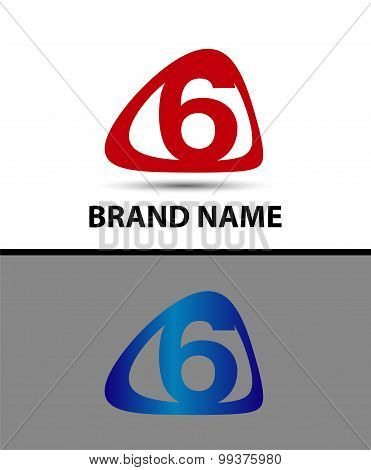 Vector sign number 6 logo