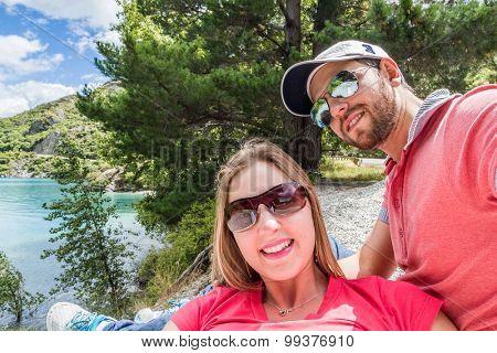Couple selfie in Queenstown, New Zealand