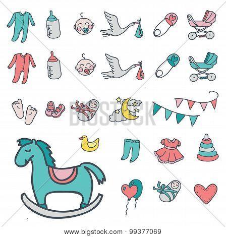 Baby icon set, vector illustration