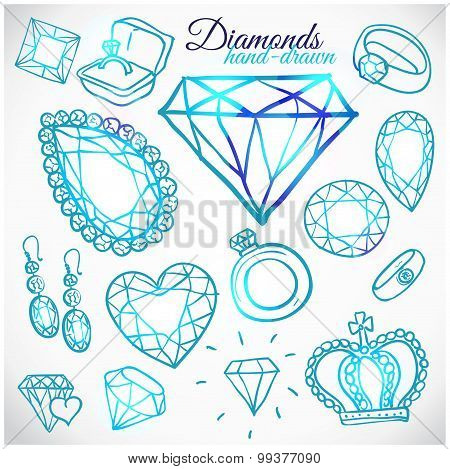 Hand drawn diamonds vector set