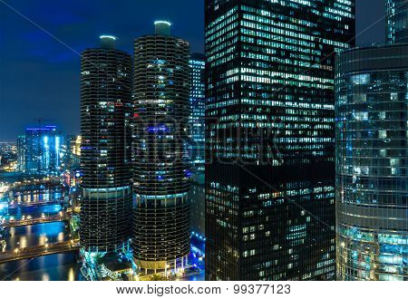 Chicago downtown at night in Illinois, USA