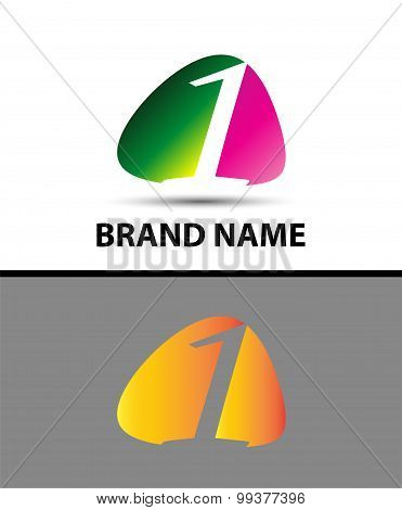 Number logo design.Number one logo