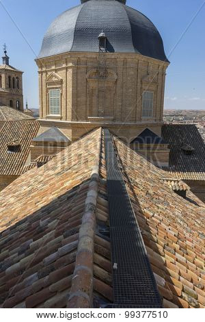 Historical, Belfry in Toledo, seen from the tiled roof