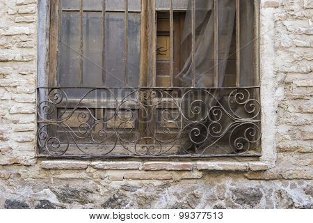 old wooden window Castilian style in Toledo Spain