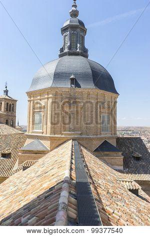 Belfry in Toledo, seen from the tiled roof