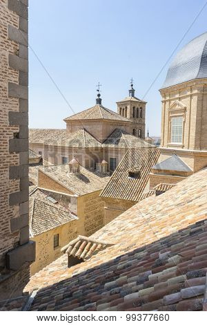 Architecture, Belfry in Toledo, seen from the tiled roof