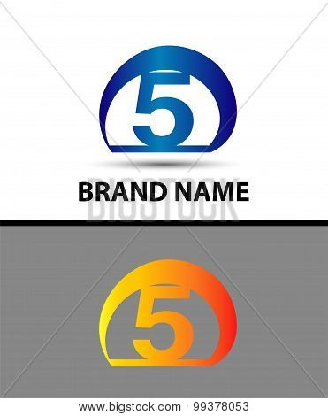 Vector sign logo number 5