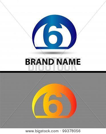 Vector sign logo number 6