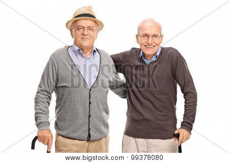 Two old friends posing together isolated on white background