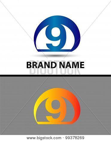 Vector sign logo number 9
