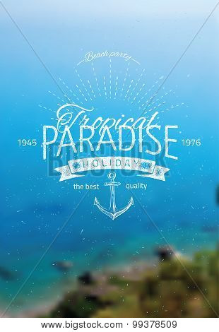 Vector blurred background with sea landscape