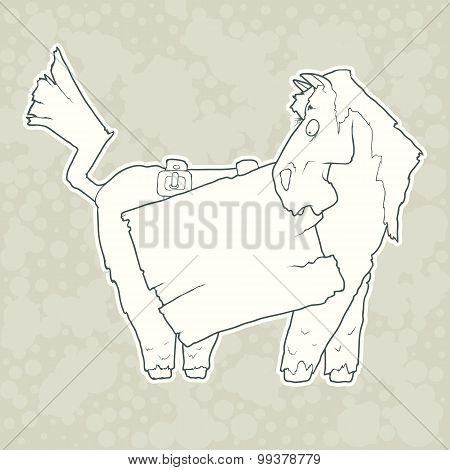 Cartoon Character Horse with Wooden Poster Isolated on Plain Background. Vector.