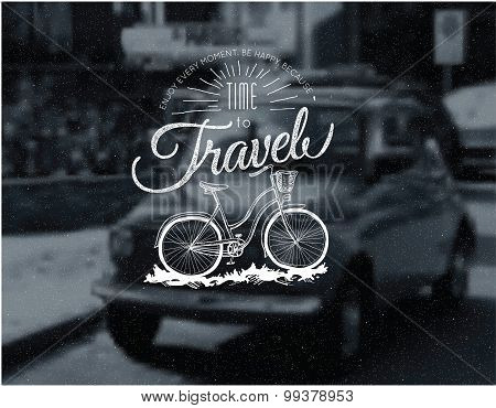 retro printing label bicycle template