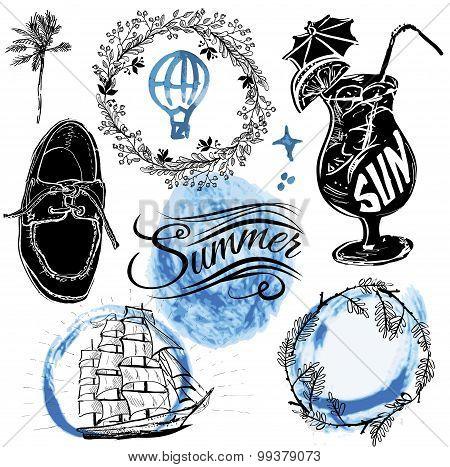 Vintage summer typography design with labels,