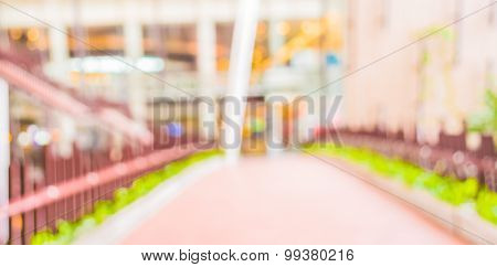 Blur Image Of Long Empty Corridor With Open Space