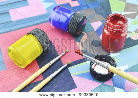 Paintbrush With Bottle Color On Paint Image