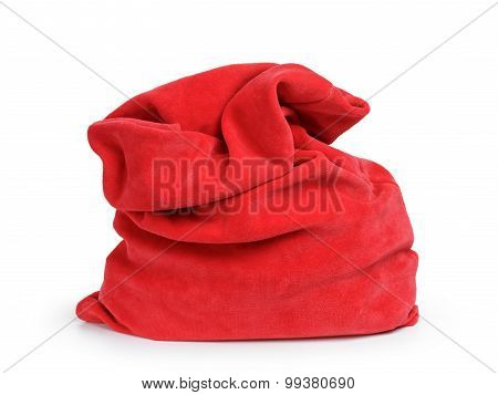 Santa red bag, isolated on white
