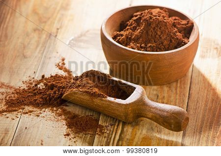 Cacao Powder In A Wooden Scoop.