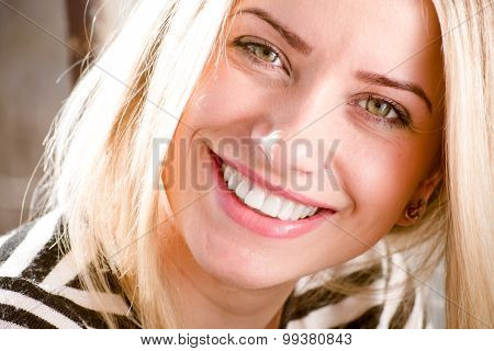 woman showing great dental whitening teeth