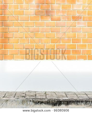 Orange Brick Wall With White Cement Painted Wall And Pavement And Tree Shadow