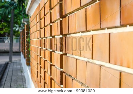 Orange Brick Wall Perspective View