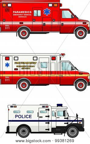 Fire truck, police and ambulance cars isolated on white background in flat style