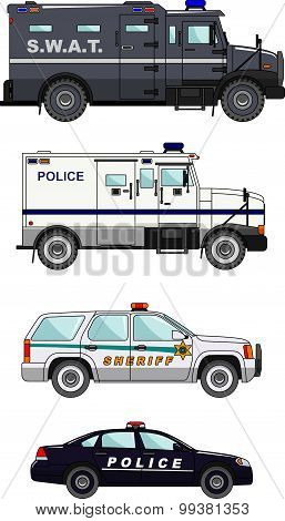 Set of different police cars on white background in flat style. Vector illustration.