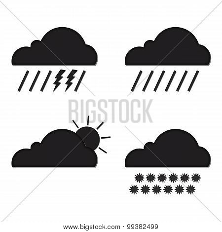 Clouds Collection. Weather Icons Set. Web Elements. Vector