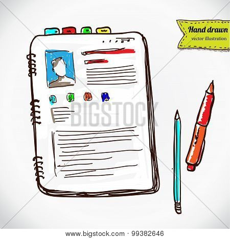 Books with pen and pencil. Hand drawing sketch vector illustration