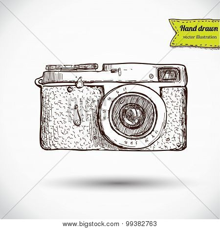 Vector illustration of camera hand draw